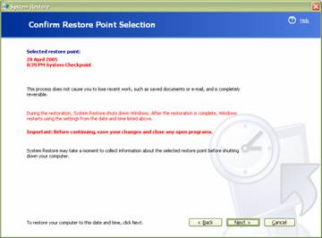 fig 6 selection confirmation window