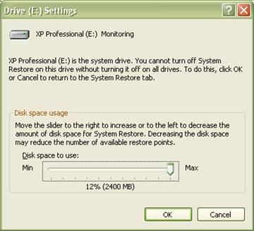 fig 8 system restore disk space monitoring