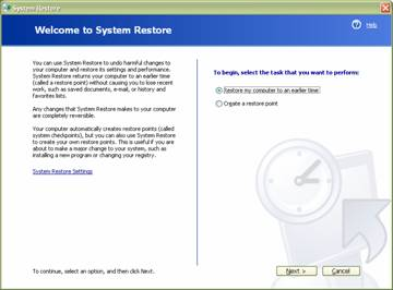fig 1 welcome to system restore window